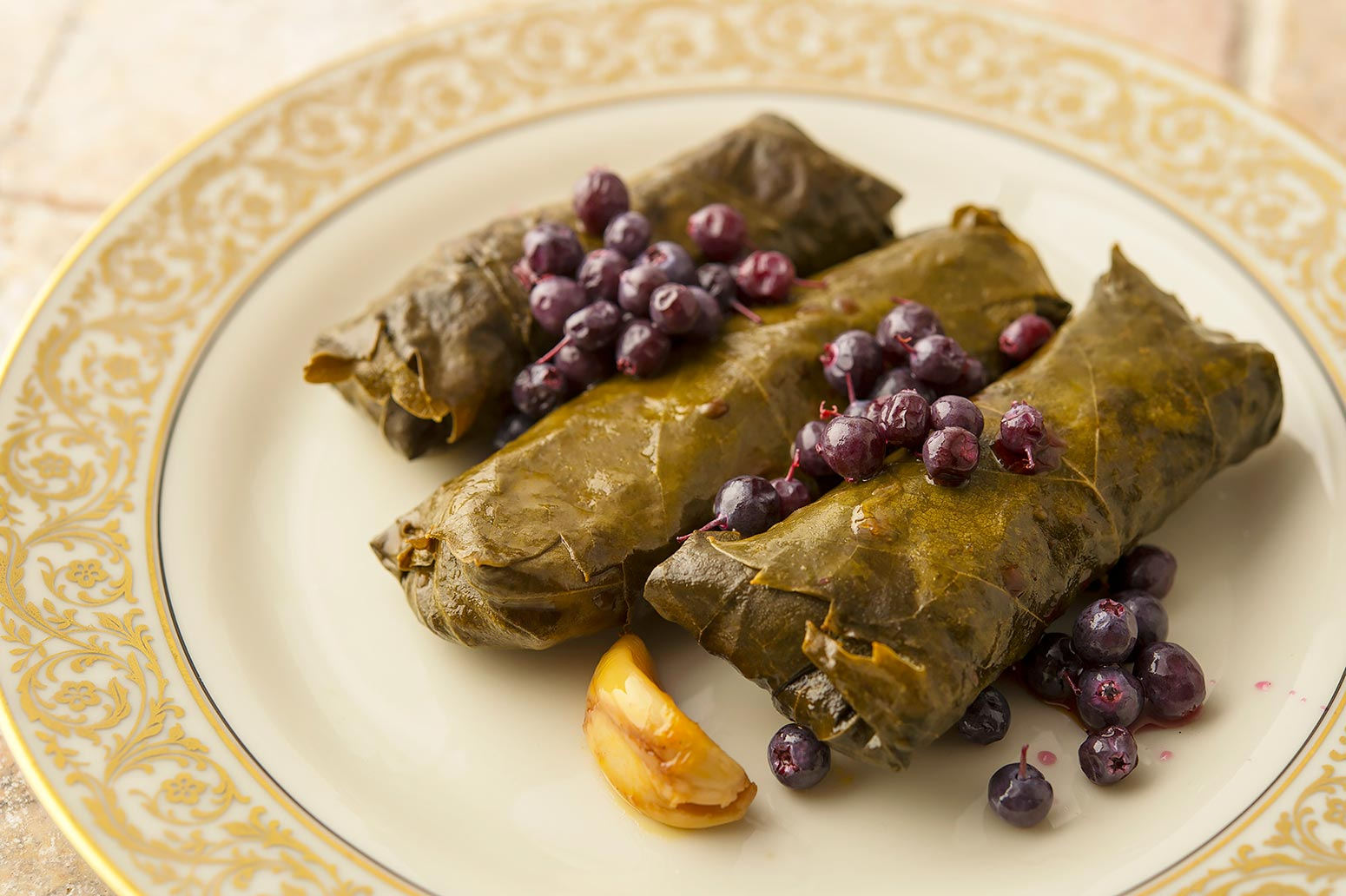 Greek dolmades on plate