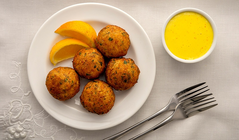 Saffron aioli with salt cod fritters