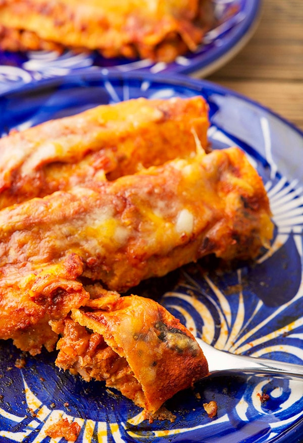 enchiladas rojas on the plate