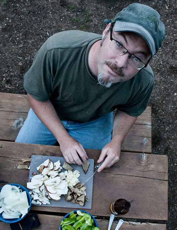 Hank Shaw cleaning mushrooms