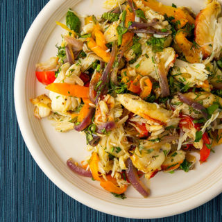 crab salad with peppers recipe on plate