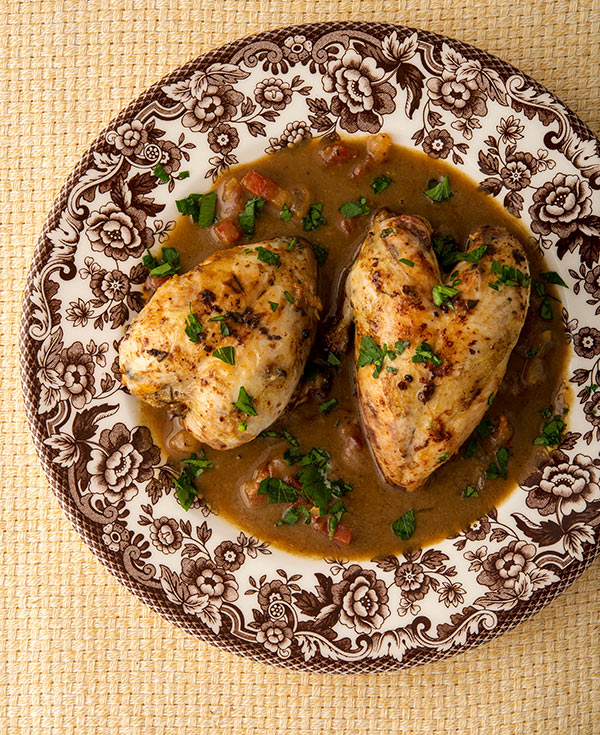 Southern red eye gravy with quail on a plate