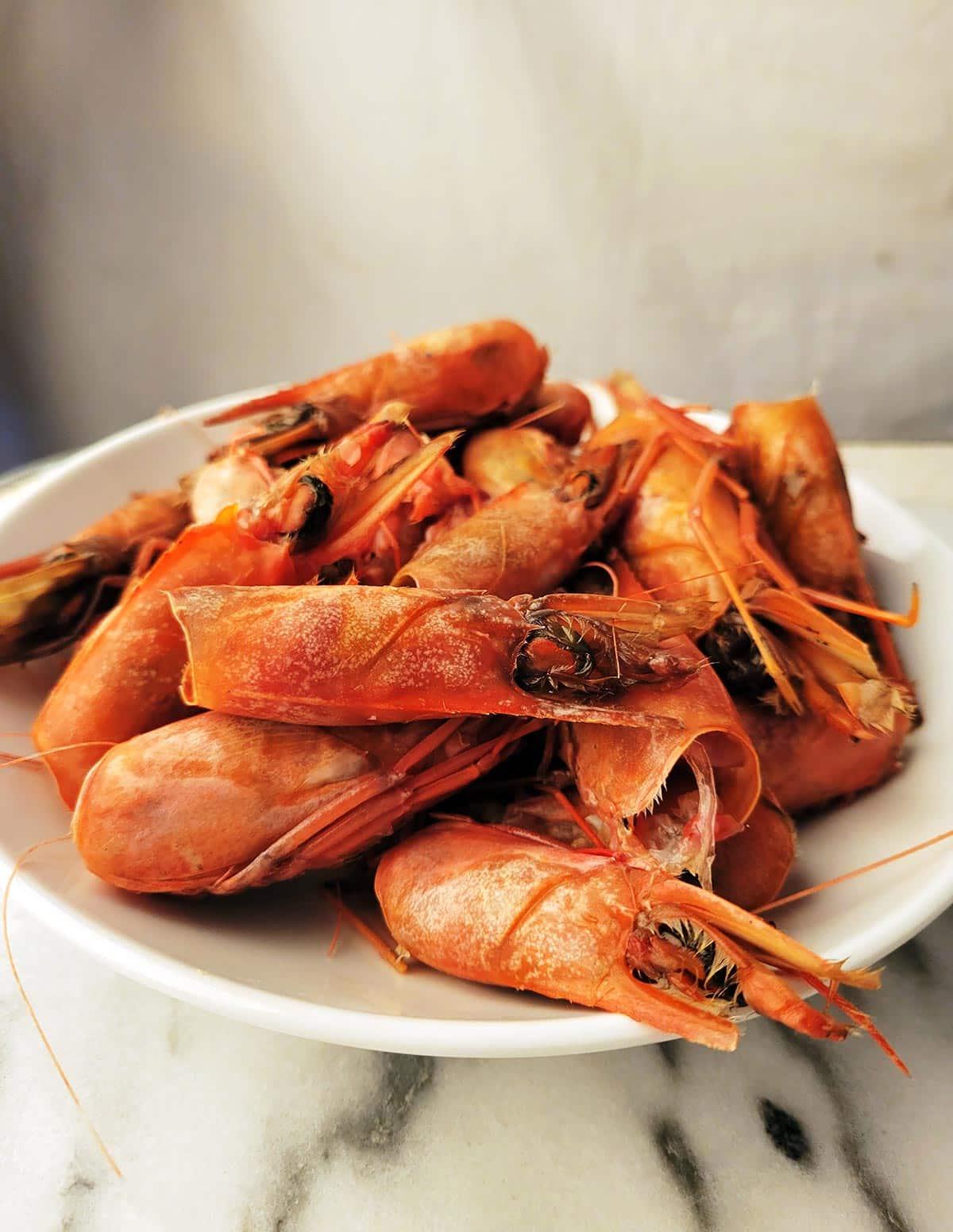 Shrimp heads for making stock