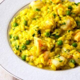 Closeup of a bowl of shrimp risotto