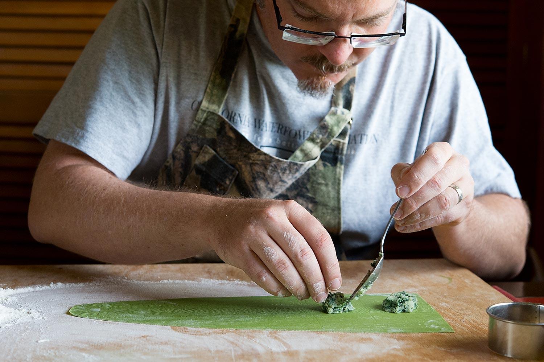 Hank Shaw making ravioli