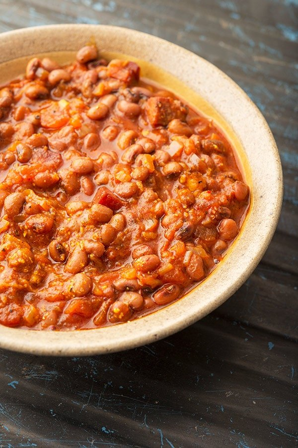 closeup of red red stew