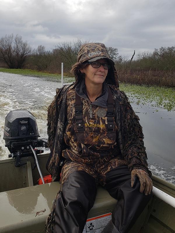 Holly Heyser running a duck boat