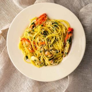 A plate of crab pasta