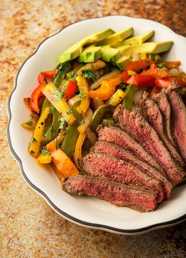 flank steak fajitas platter