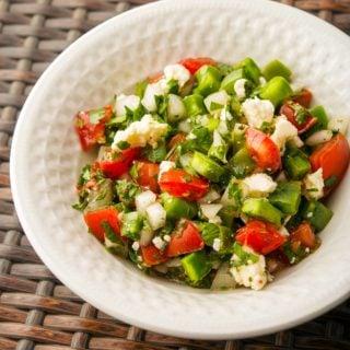 Close up of a bowl of ensalada de nopales