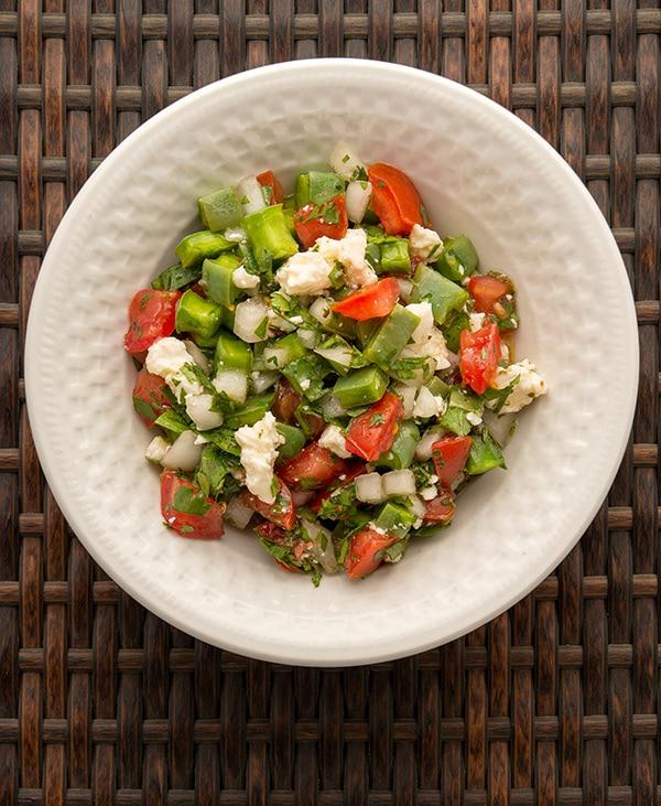 ensalada de nopales in a bowl