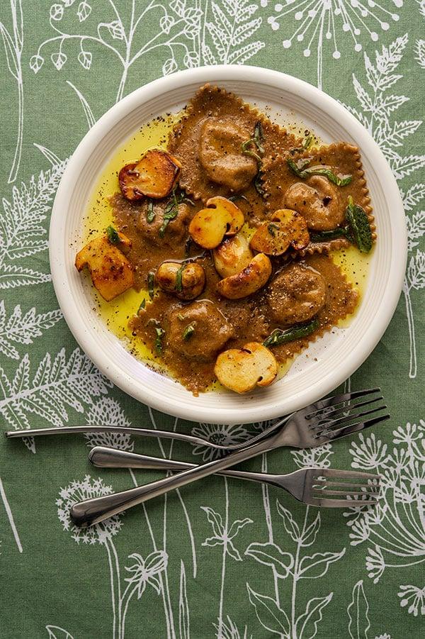 plate of mushroom ravioli