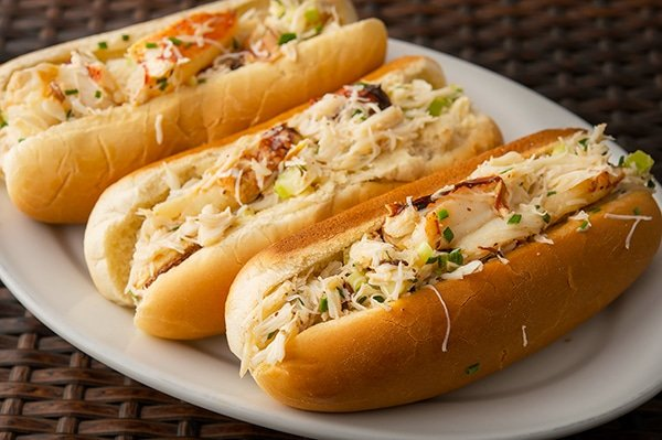Another image of crab rolls on a plate.