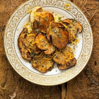 Grilled mushrooms on a plate