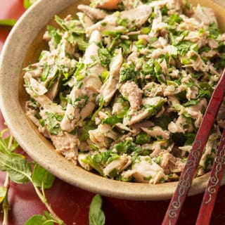 A rau ram recipe of shredded quail with the herb and ginger