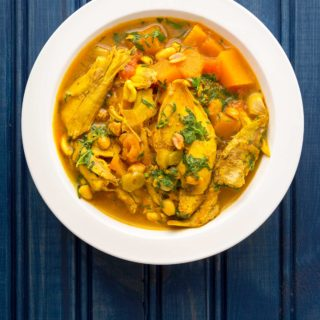 A bowl of coconut curry chicken