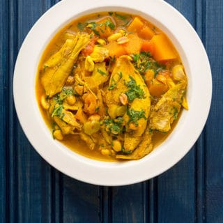 The finished coconut curry chicken recipe, in a bowl