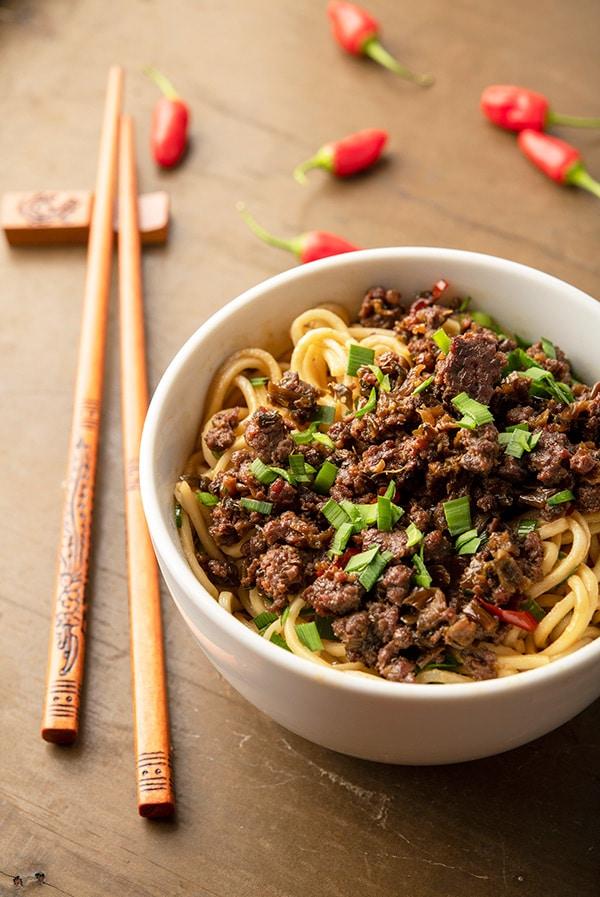 A bowl of dan dan noodles