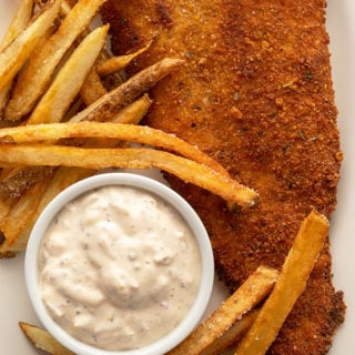 Fried flounder recipe close up