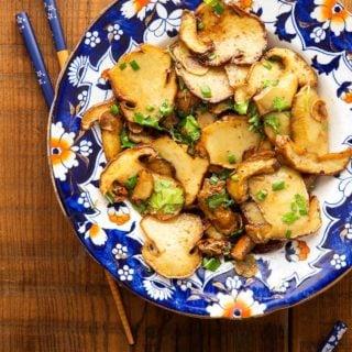 Chinese mushroom stir fry on a plate