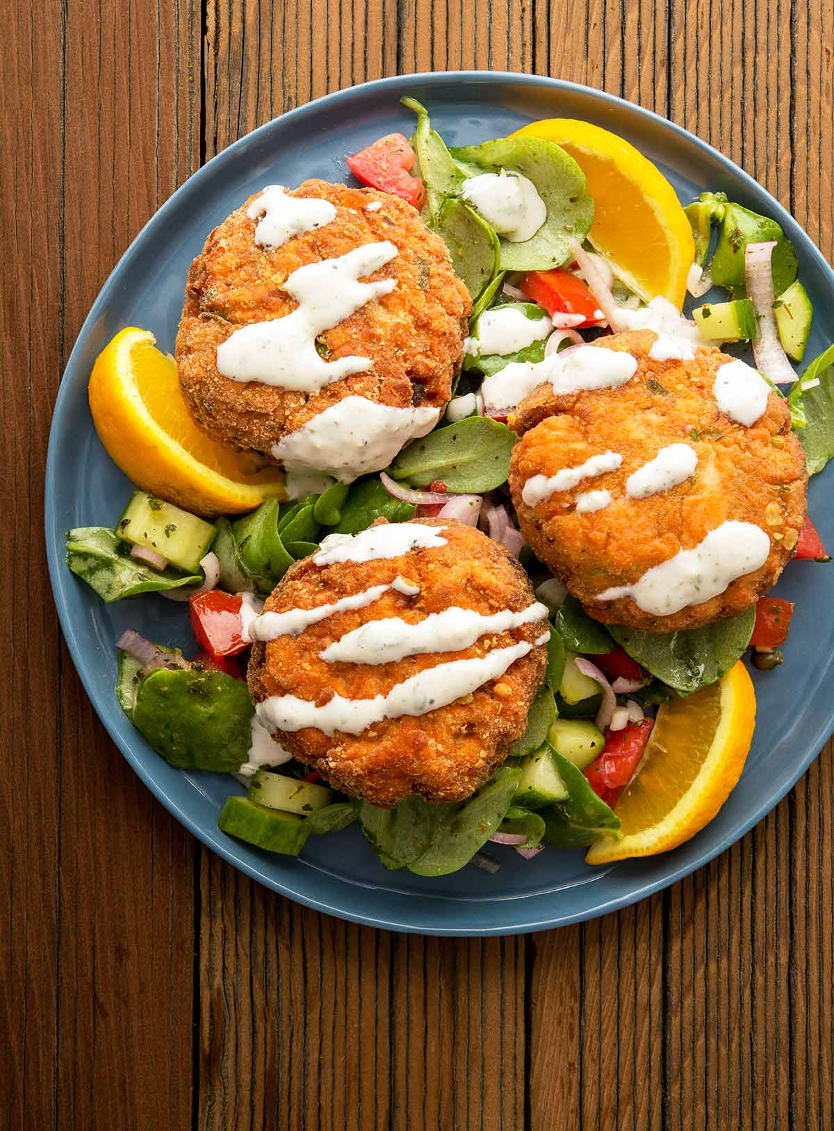 a plate of salmon cakes.