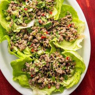 Hmong larb on lettuce wraps