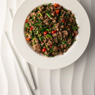 Ground pork stir fry in a bowl