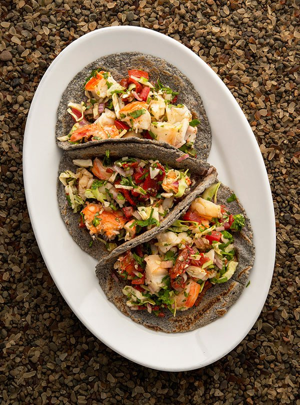 lobster tacos on a platter
