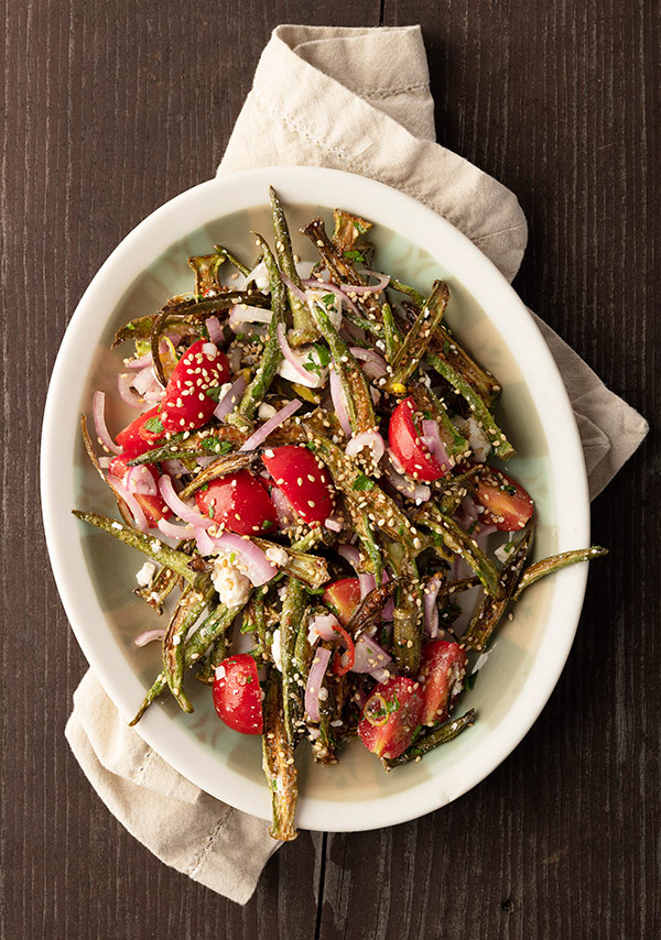 Lowcountry okra salad with tomatoes and feta cheese