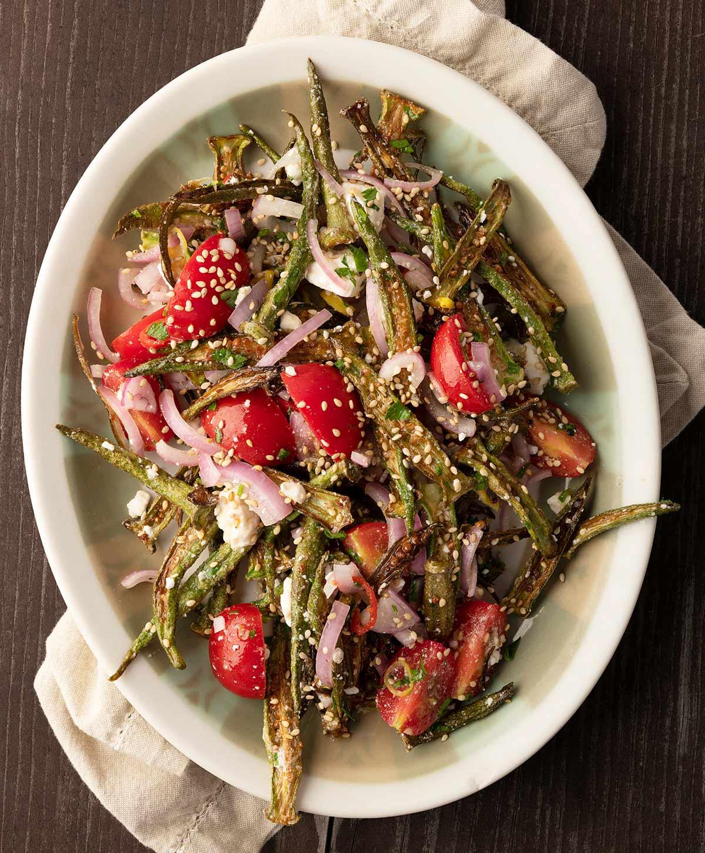 A platter of okra salad