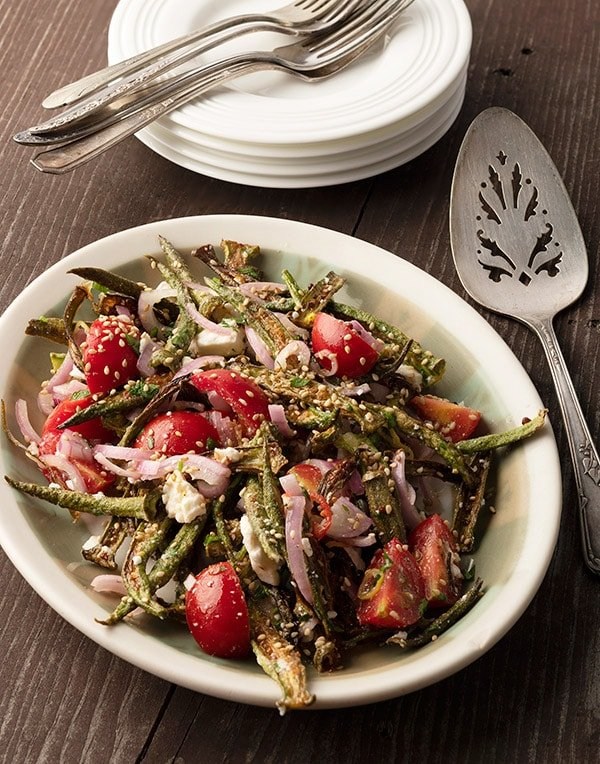 Lowcountry okra salad on a platter