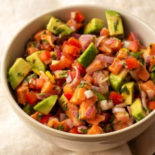 salmon ceviche recipe in a bowl