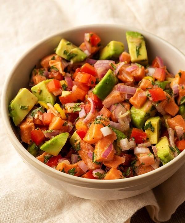 salmon ceviche recipe in a bowl