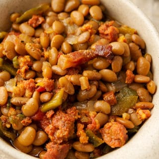 Mexican frijoles fronterizos made with tepary beans