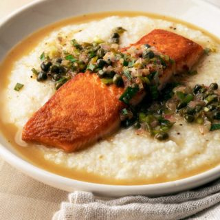Closeup of salmon piccata recipe