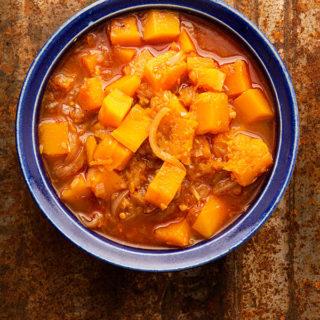 butternut squash curry in a bowl