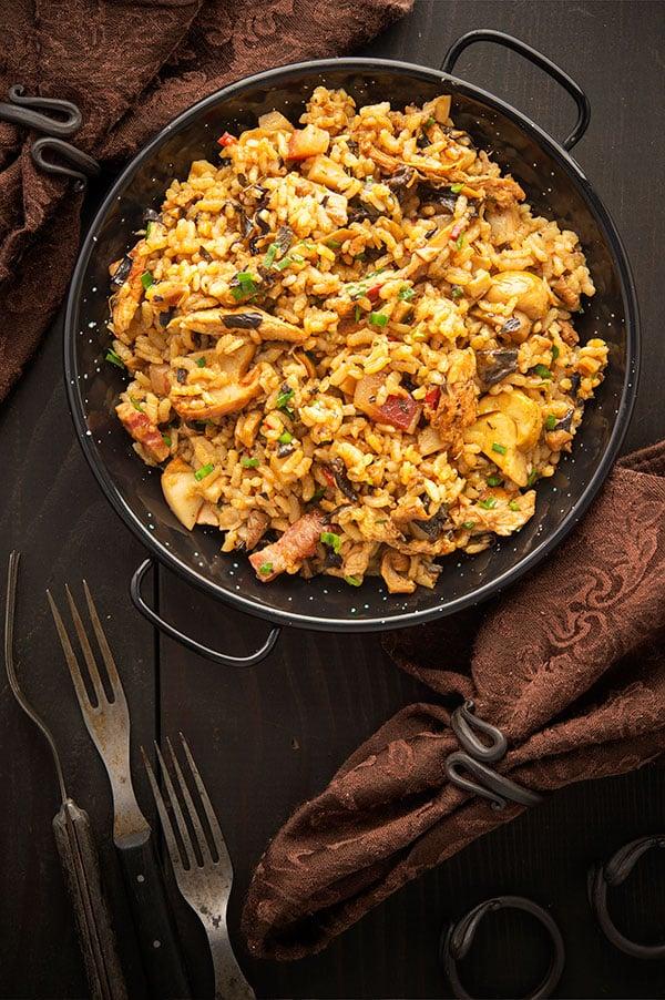 Spanish mushroom rice in a paella pan