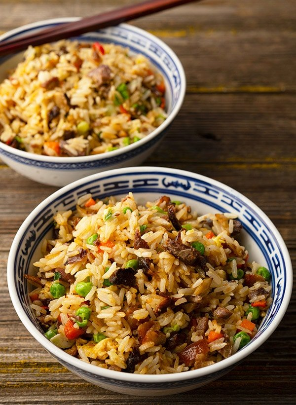 two bowls of duck fried rice