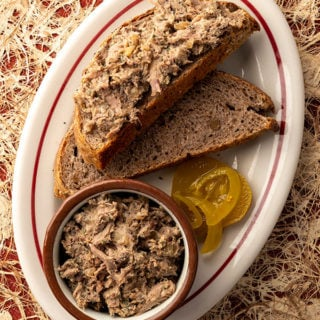 Grouse rillettes recipe on a plate