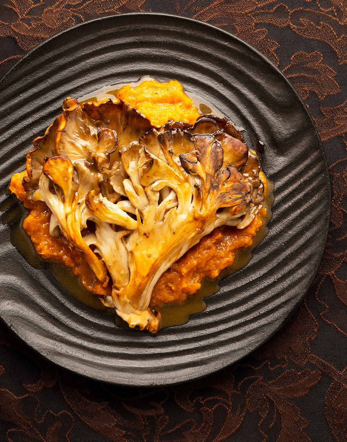 Hen of the woods recipe on a plate