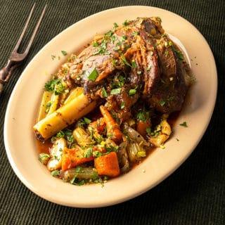 Closeup of Greek lamb shank recipe