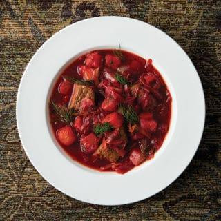 Ukrainian borscht in a bowl