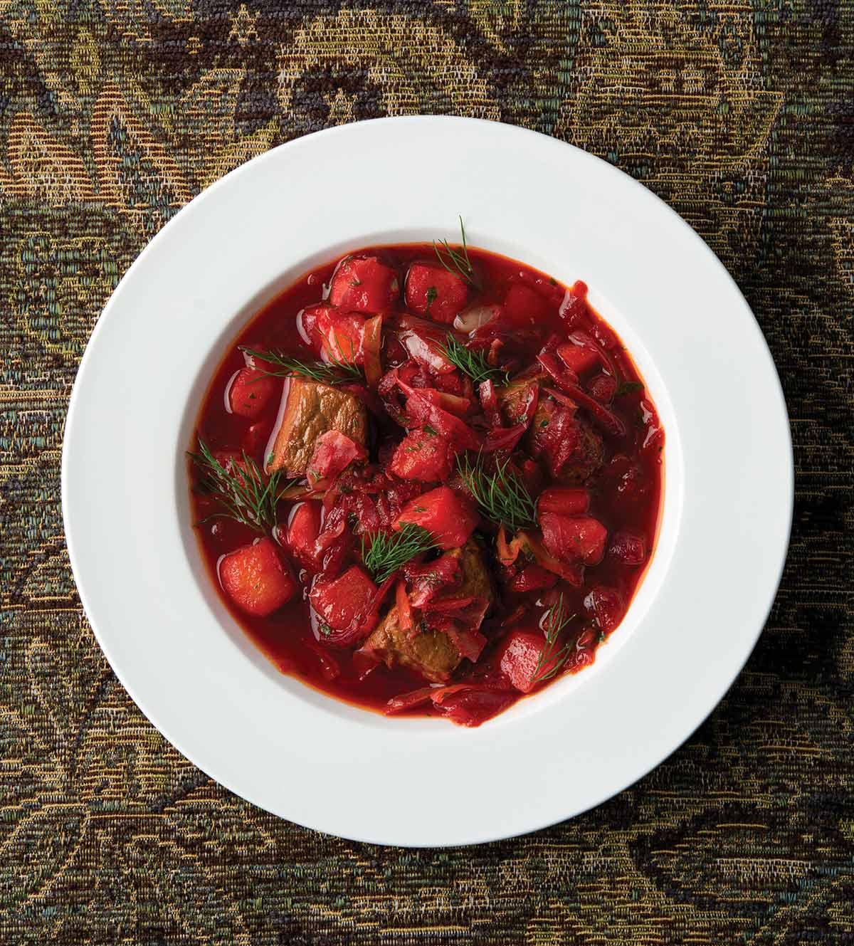 A bowl of Ukranian borscht.