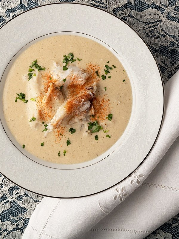 A bowl of cream of crab soup
