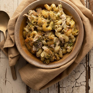 Green chile mac and cheese in a bowl