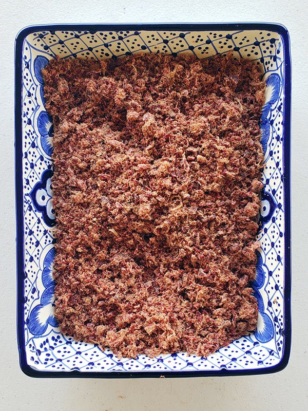 Finished homemade machaca in a casserole dish