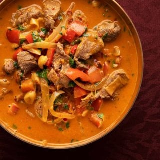 Thai red coconut curry in a bowl