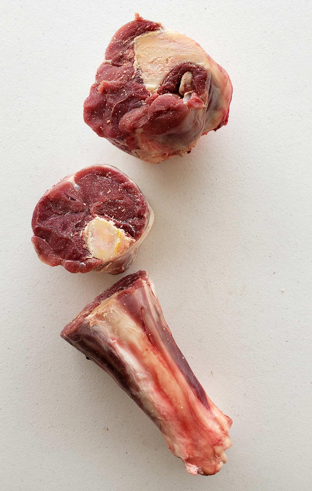 Nilgai shank sliced into ossobuco chunks