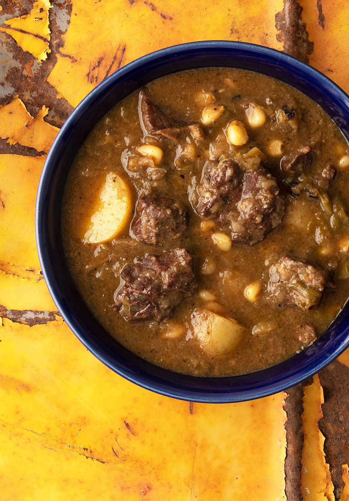 green chile stew in a bowl