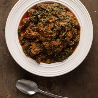 A bowl of Ghanaian palava sauce